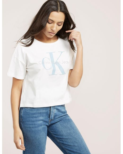 Calvin Klein | White Teca Icon Crop Top | Lyst