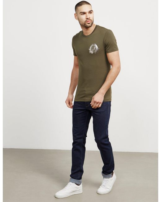 Versace Jeans - Mens Foil Leaf Short Sleeve T-shirt Green for Men - Lyst