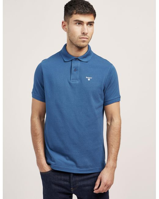 Barbour | Blue Tartan Pique Short Sleeve Polo Shirt for Men | Lyst