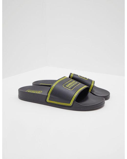d2cc04c445be Lyst - Barbour Pool Logo Slider In Black yellow in Black for Men