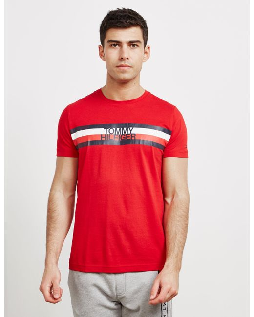 77a96d02 Tommy Hilfiger Flag Logo Short Sleeve T-shirt Red in Red for Men - Lyst