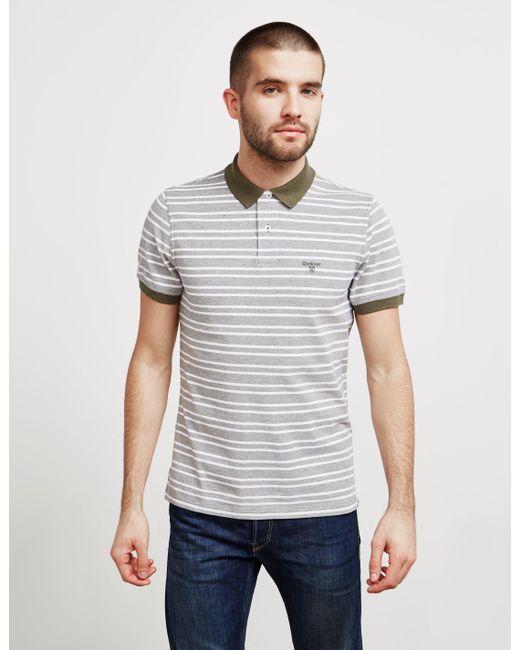 198e82a3 Barbour - Mens Bedford Stripe Short Sleeve Polo Shirt Green for Men - Lyst  ...