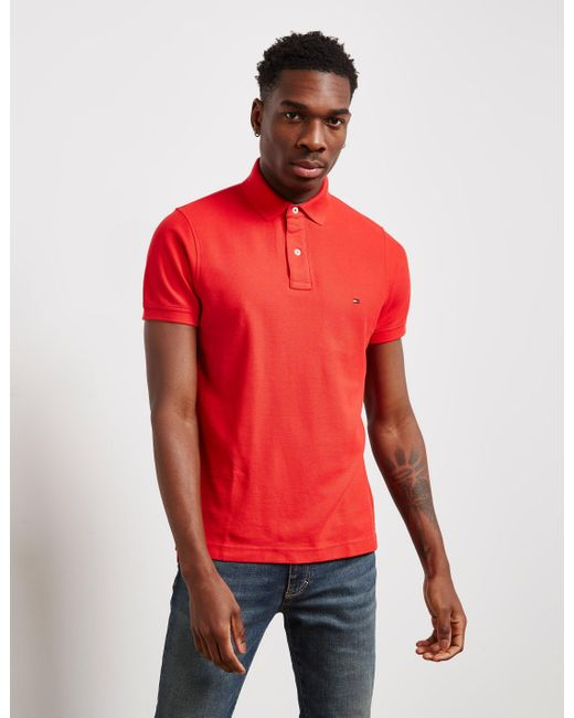 1c5622d19 Tommy Hilfiger - Mens Core Short Sleeve Slim Polo Shirt Red for Men - Lyst  ...