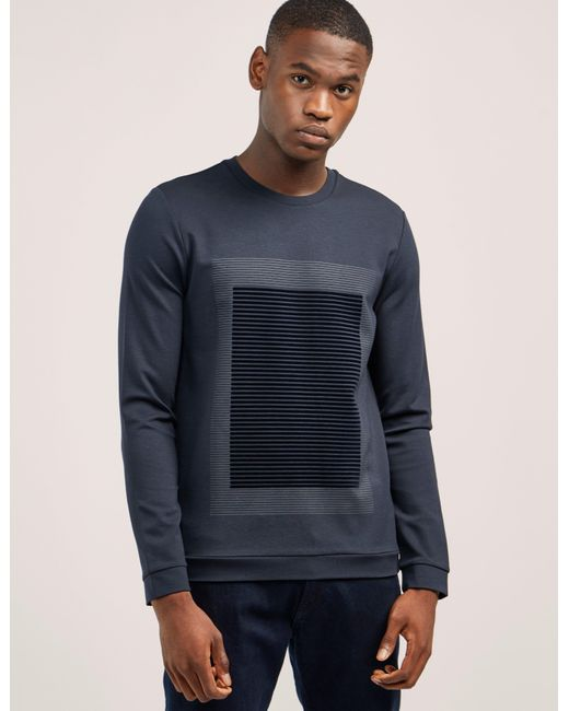 Armani | Blue Flocked Sweatshirt for Men | Lyst