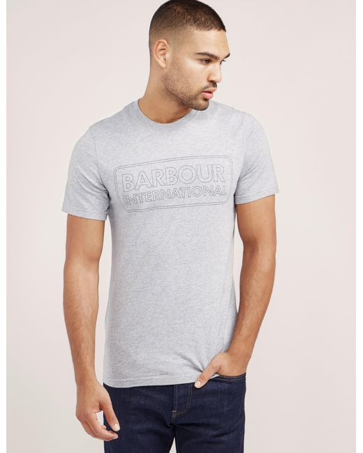 Barbour | Gray International Line Logo Short Sleeve T-shirt for Men | Lyst