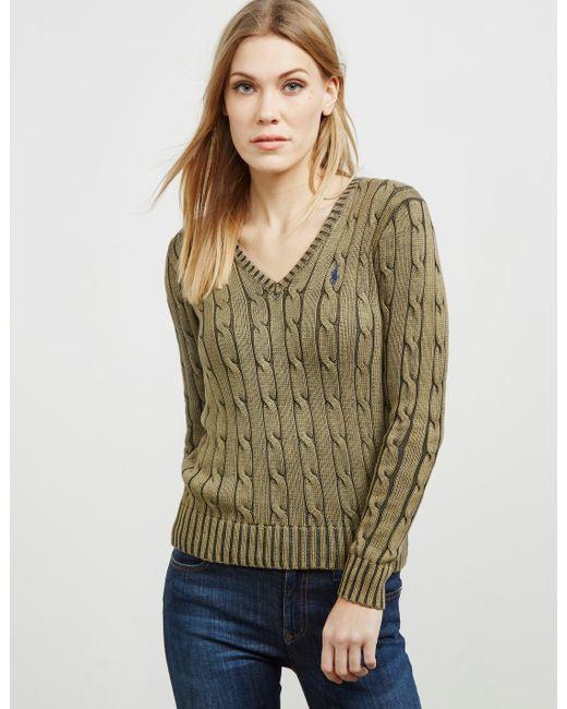 Polo Ralph Lauren - Womens Kimberly V-neck Knitted Jumper Green - Lyst
