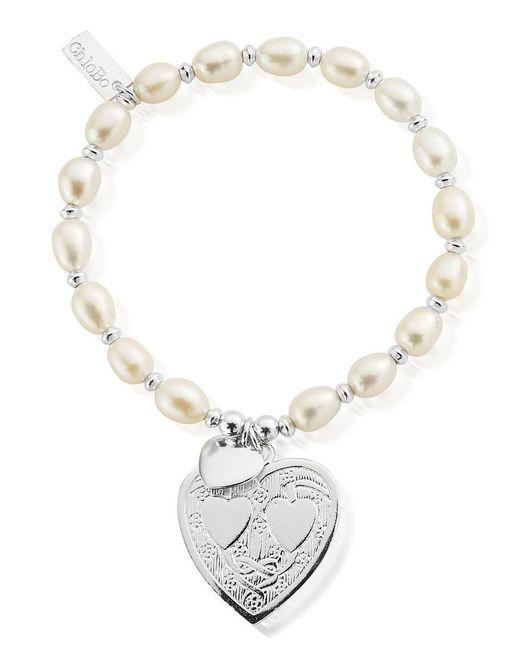 ChloBo - Metallic Pearl Disc Decorated Heart Bracelet - Lyst
