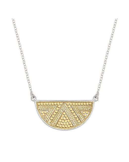 Anna Beck - Metallic Beaded Reversible Half Moon Necklace - Lyst