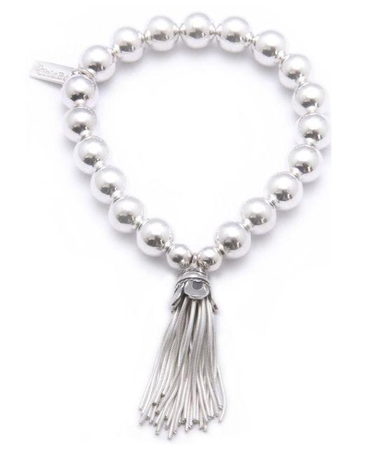 ChloBo - Metallic Medium Ball Bracelet With Tassel Charm - Lyst