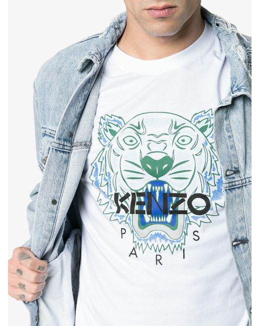 0b8834f84 ... KENZO - Blue Cotton Tiger Logo T-shirt for Men - Lyst