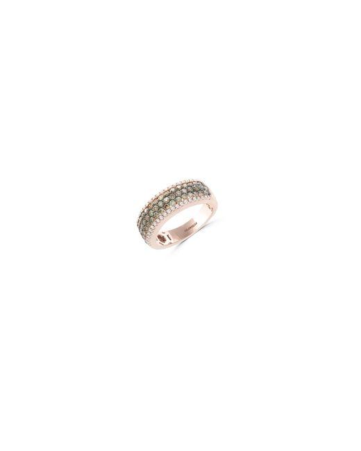 Effy | Metallic 1.2 Tcw White And Espresso Diamond 14k Rose Gold Studded Band Ring | Lyst
