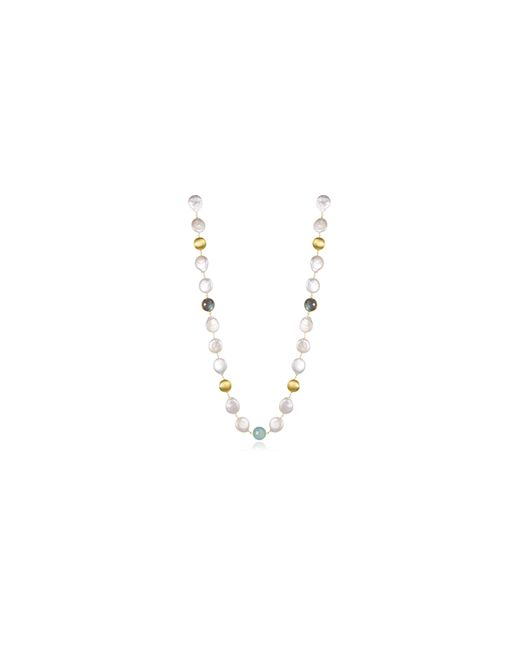 PIARA | Metallic 12-13mm White Freshwater Pearls, Labradorite And Aqua Chalcedony Necklace | Lyst