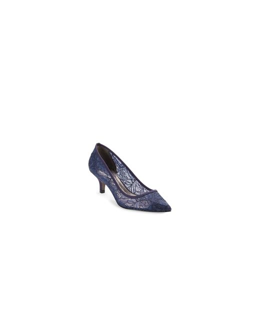 Adrianna Papell | Blue Lace Kitten Heel Pumps | Lyst