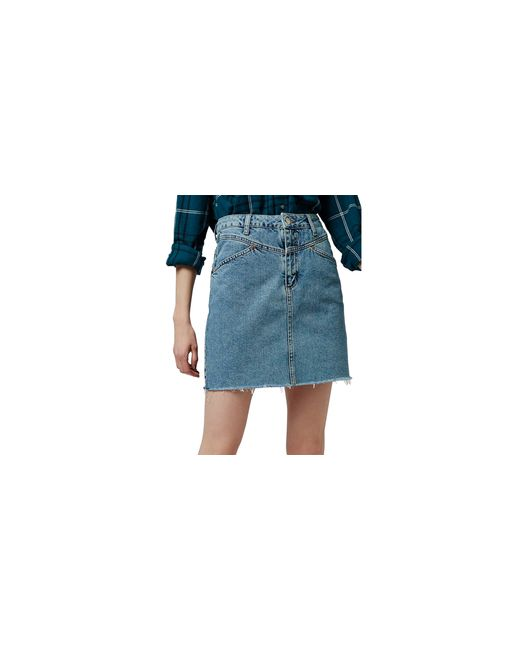 topshop moto acid wash denim skirt in blue light denim