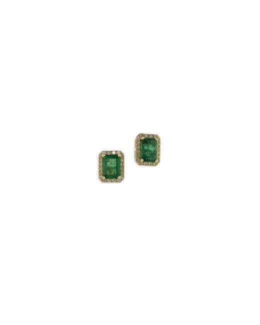 Effy   Green 14k Yellow Gold Stud Emerald Earrings With 0.25 Tcw Diamonds   Lyst