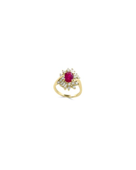 Effy | Red 0.61tcw Diamonds, Natural Ruby And 14k Yellow Gold Ring | Lyst