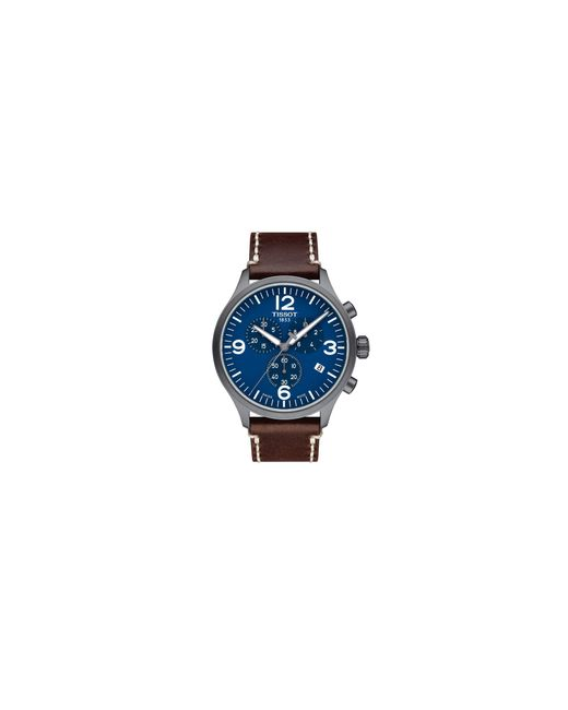 Tissot   Blue Chronograph T Sport Stainless Steel Leather Strap Watch for Men   Lyst