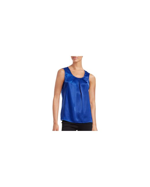 Kasper | Blue V-neck Satin Shell | Lyst