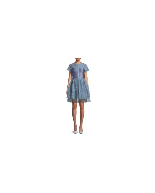 French Connection | Blue Lace Fit-and-flare Dress | Lyst