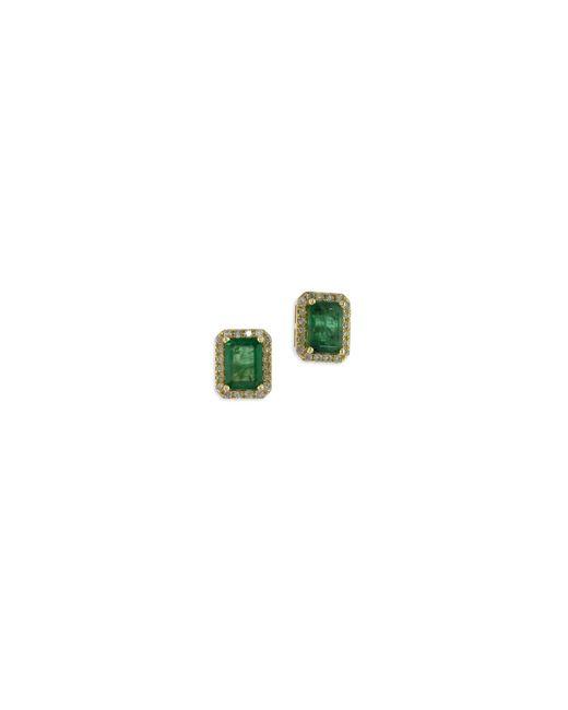 Effy | Green 14k Yellow Gold Stud Emerald Earrings With 0.25 Tcw Diamonds | Lyst