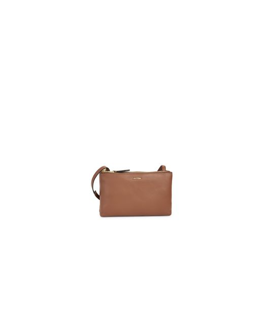 Calvin Klein | Brown Pebble Leather Double-zip Crossbody | Lyst