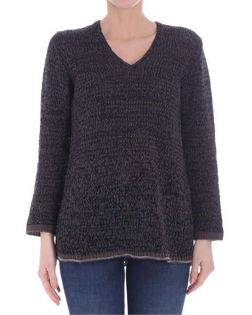 Fabiana Filippi - Blue And Brown Cotton Sweater - Lyst