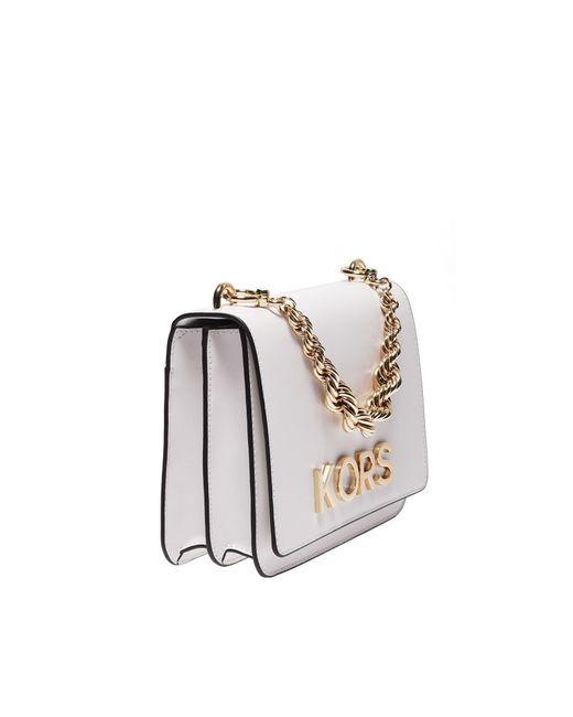 41f671c5d28bdd ... Michael Kors - Mott Large Shoulder Bag In White Leather With Kors  Detail - Lyst ...