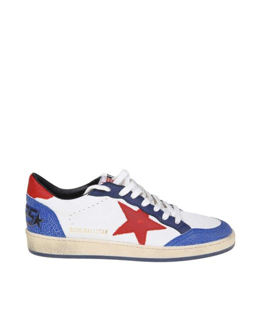 dce81c0522881 Golden Goose Deluxe Brand - White And Blue Ball Star Sneakers for Men - Lyst  ...