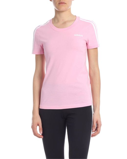 d71ae90e4f604 Lyst - adidas Crew Neck T-shirt In Pink With Three White Stripes in Pink