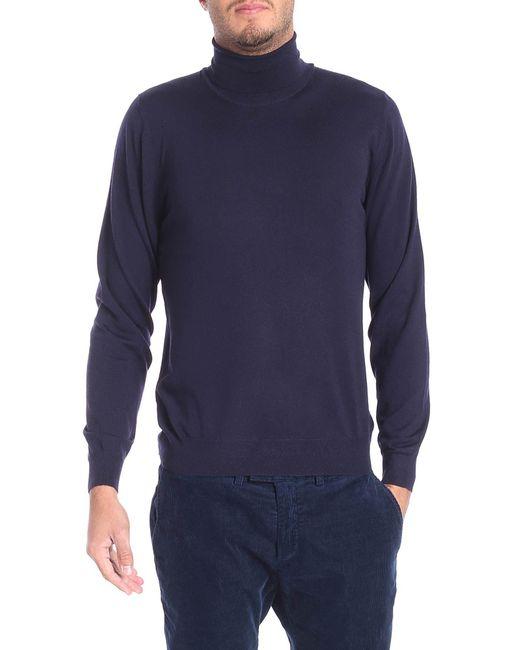 Fedeli - Dark Blue Wool Turtleneck Sweater for Men - Lyst