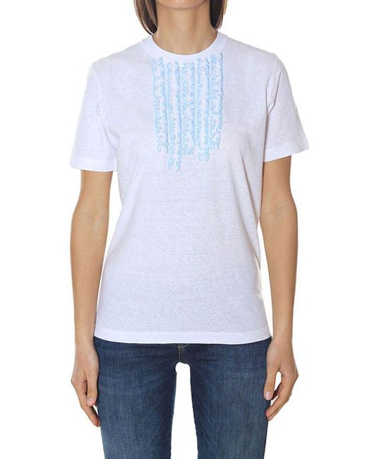 DSquared² - White Cotton T-shirt With Ruffles - Lyst