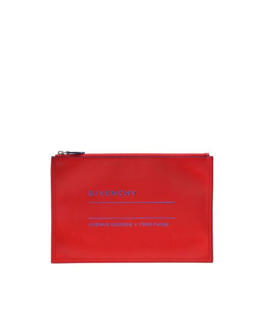 Givenchy - Red Clutch With Blue Logo Print - Lyst