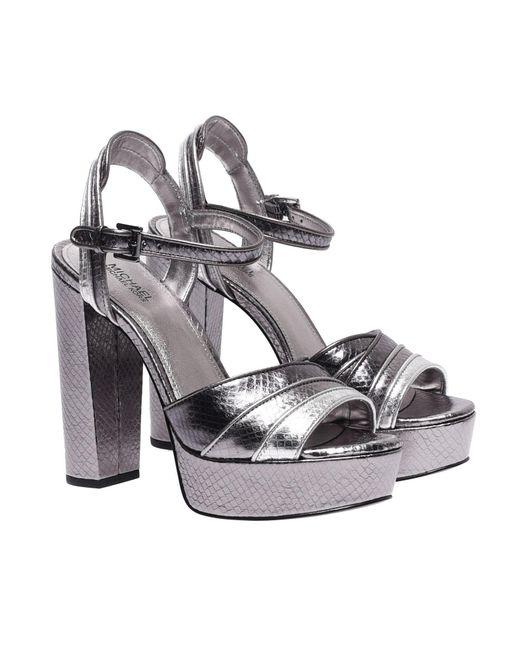 8aae8bc7cf56 ... Michael Kors - Metallic Harper Platform Sandals In Silver Leather - Lyst  ...