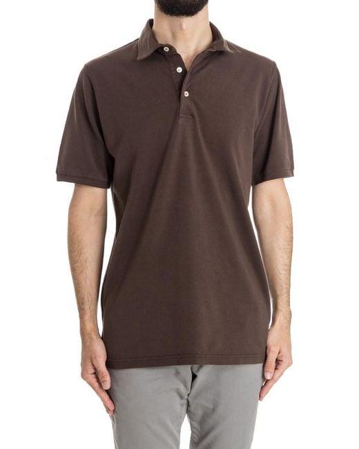 Fedeli - Brown Cotton Polo for Men - Lyst