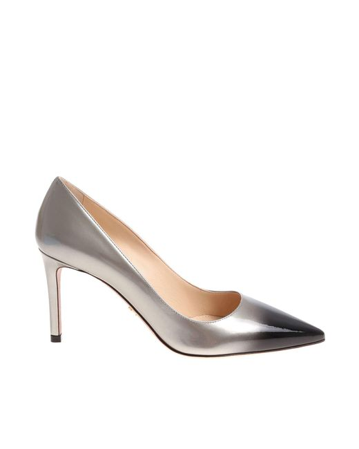 69b74660c1c2 Prada Gray Patent Leather Pumps in Gray - Lyst