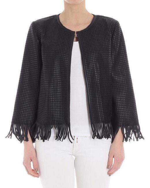 Desa Nineteenseventytwo - Black Woven Leather Jacket - Lyst