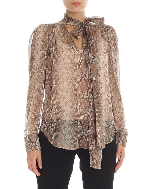 Twin Set - Natural Reptile Printed Beige Silk Blouse - Lyst