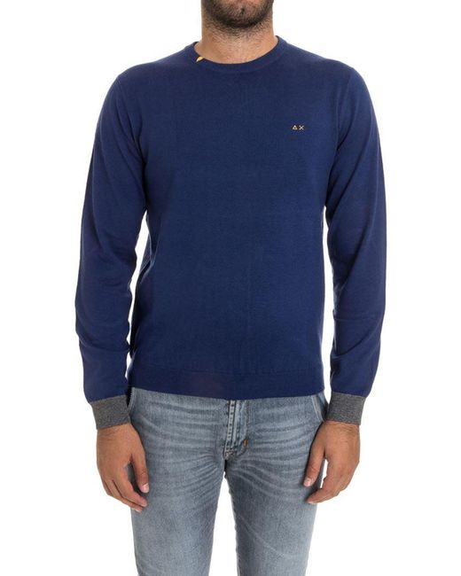 Sun 68 - Blue Wool And Cotton Sweater for Men - Lyst