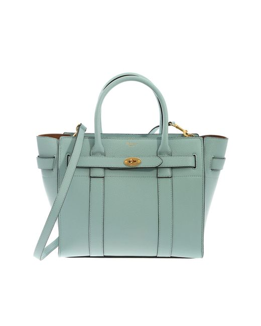 f560b8e4a14f Lyst - Mulberry Small Zipped Bayswater Bag In Light Blue Leather in Blue