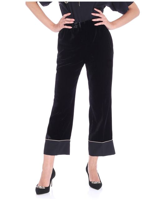 N°21 - Black Velvet Satin Trousers - Lyst