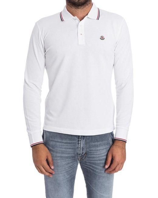 Moncler - White Long Sleeve Polo for Men - Lyst