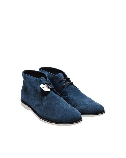 Hogan - Blue Leather Ankle Boots for Men - Lyst