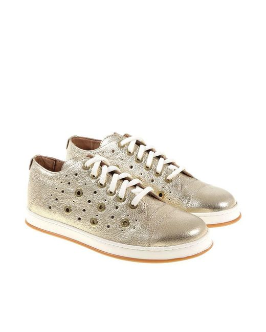 Twin Set - Multicolor Golden Sneakers With Pierced Details - Lyst