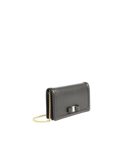 2885de5c2796 ... Ferragamo - Vara Mini Black Hammered Leather Bag - Lyst ...
