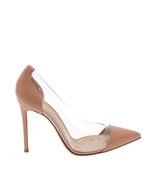 "Gianvito Rossi - Pink ""plexi"" Pointy Pumps - Lyst"