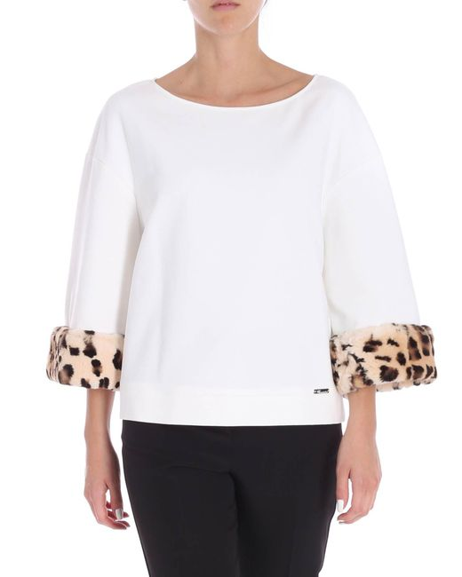 Blumarine - White Jersey Blouse With Fur Detail - Lyst