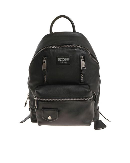 99adf49830900 Lyst - Moschino Black Biker Backpack in Black for Men