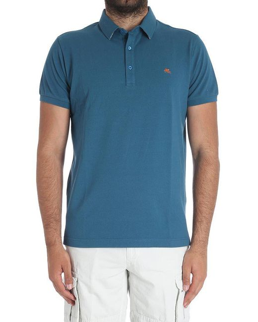 Etro - Blue Teal-colored Piqué Polo for Men - Lyst