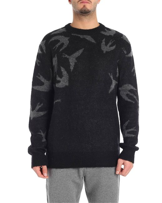 McQ Alexander McQueen - Black Crew-neck Sweater With Swallow Swarm Motif for Men - Lyst