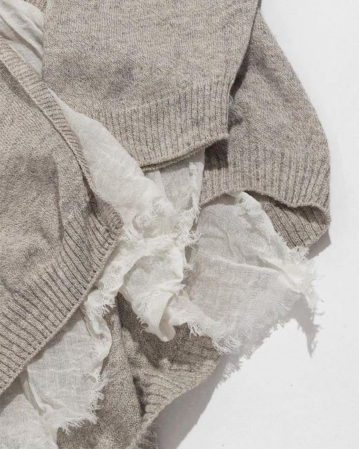 ... Pas De Calais - Natural Beige Scarf Knit Cardigan - Lyst c0de79b1f